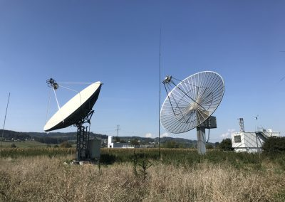10m solid dish and 15.28m mesh dish