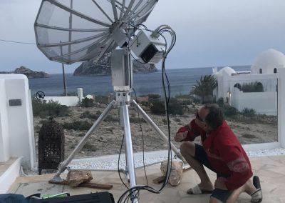 Sam checks alignment of relocated station