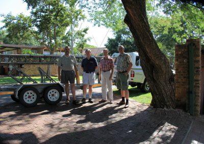 from left: Pine ZS6OB, David N7BHC, Daniel ZS6JR, Dan HB9CRQ at Pines home