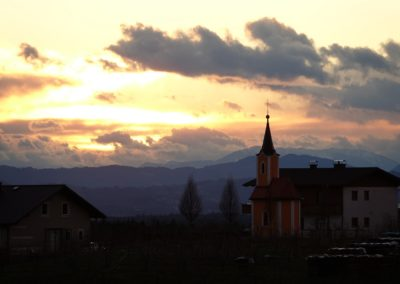 sunset and the chapel